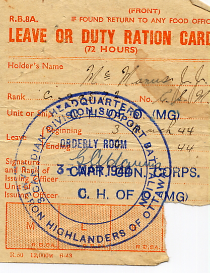 0a_Leave or Duty Ration Card-03March1944-Front