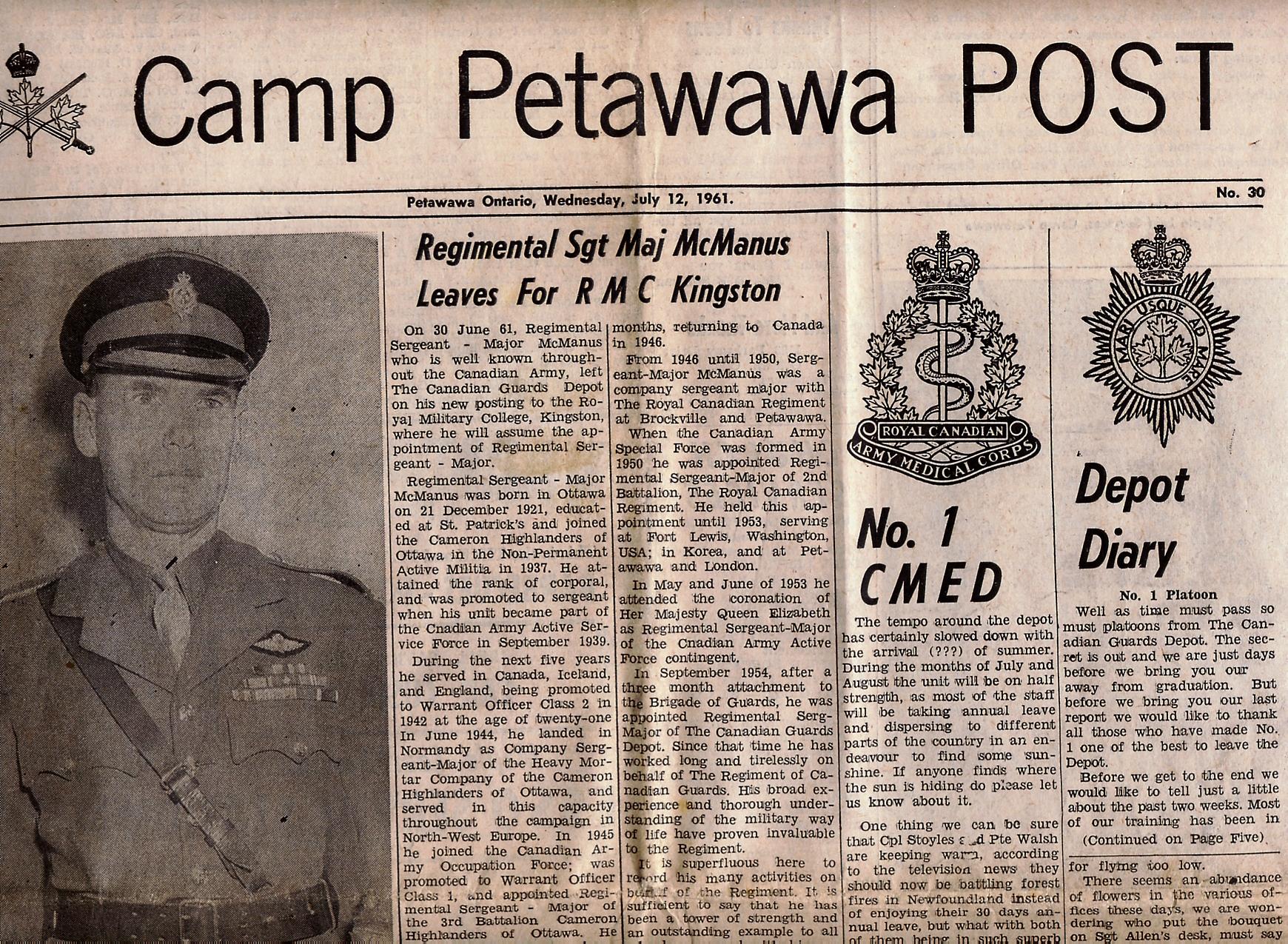 24_RSM McManus-Camp Petawawa Post-Wed 12 Jul 1961 - Pg 1R