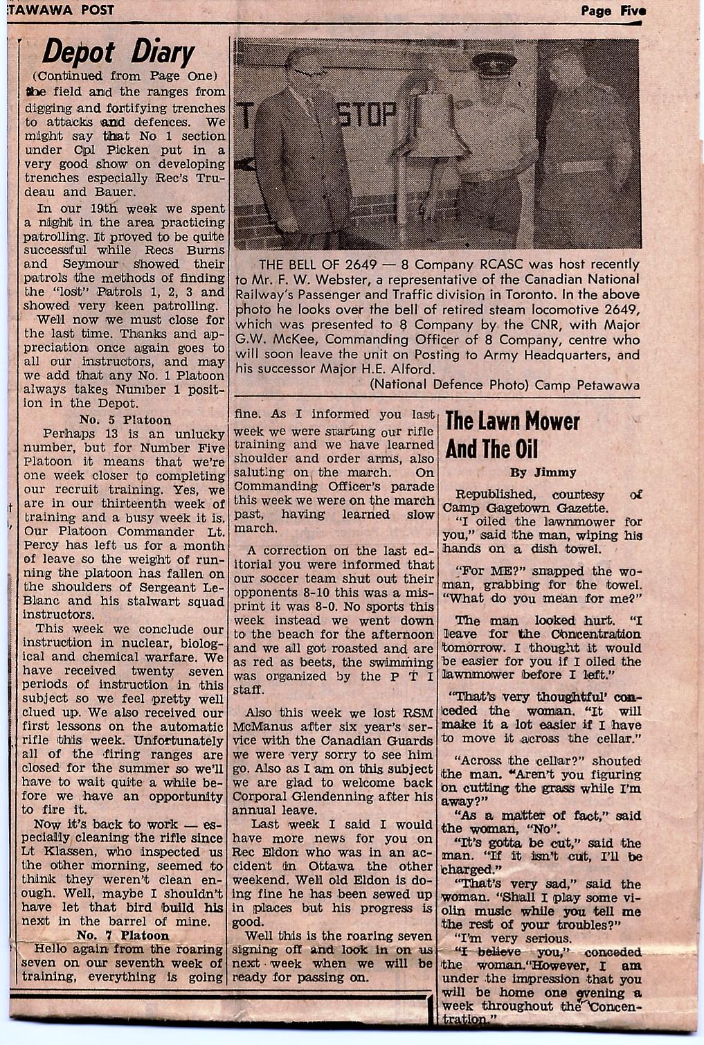 30_RSM McManus-Camp Petawawa Post-Wed 12 Jul 1961 - Pg 5b