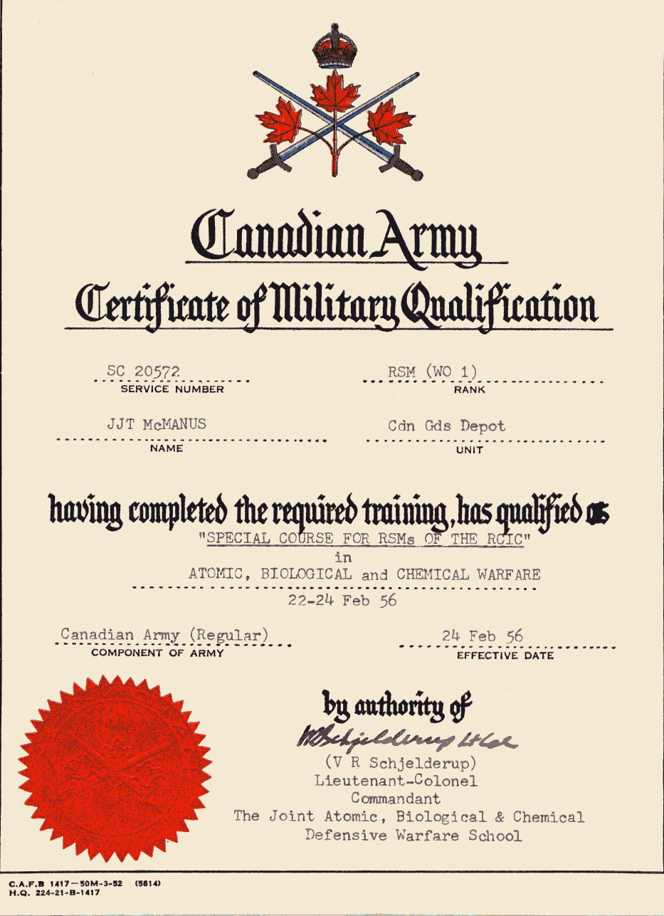 41_Certificate of Military Qualification-24 Feb 1956- Atomic-Biological and Chemical Warfare