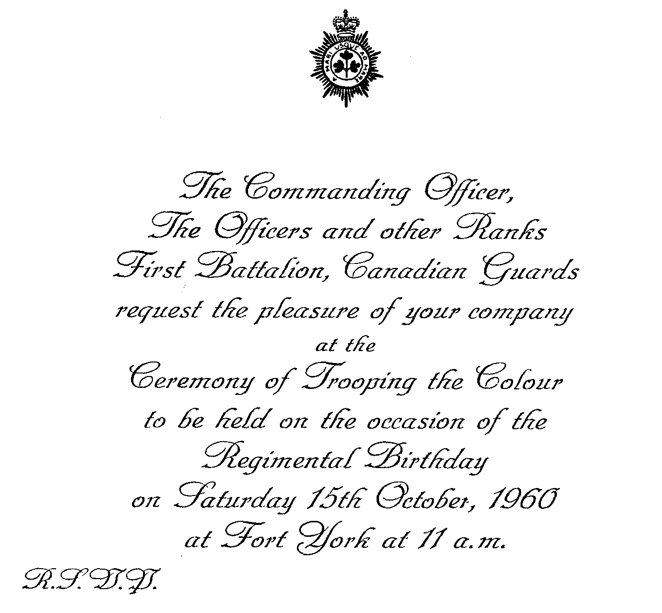 43_Cdn Gds-Trooping Colour on 15 Oct 1960-Invitation