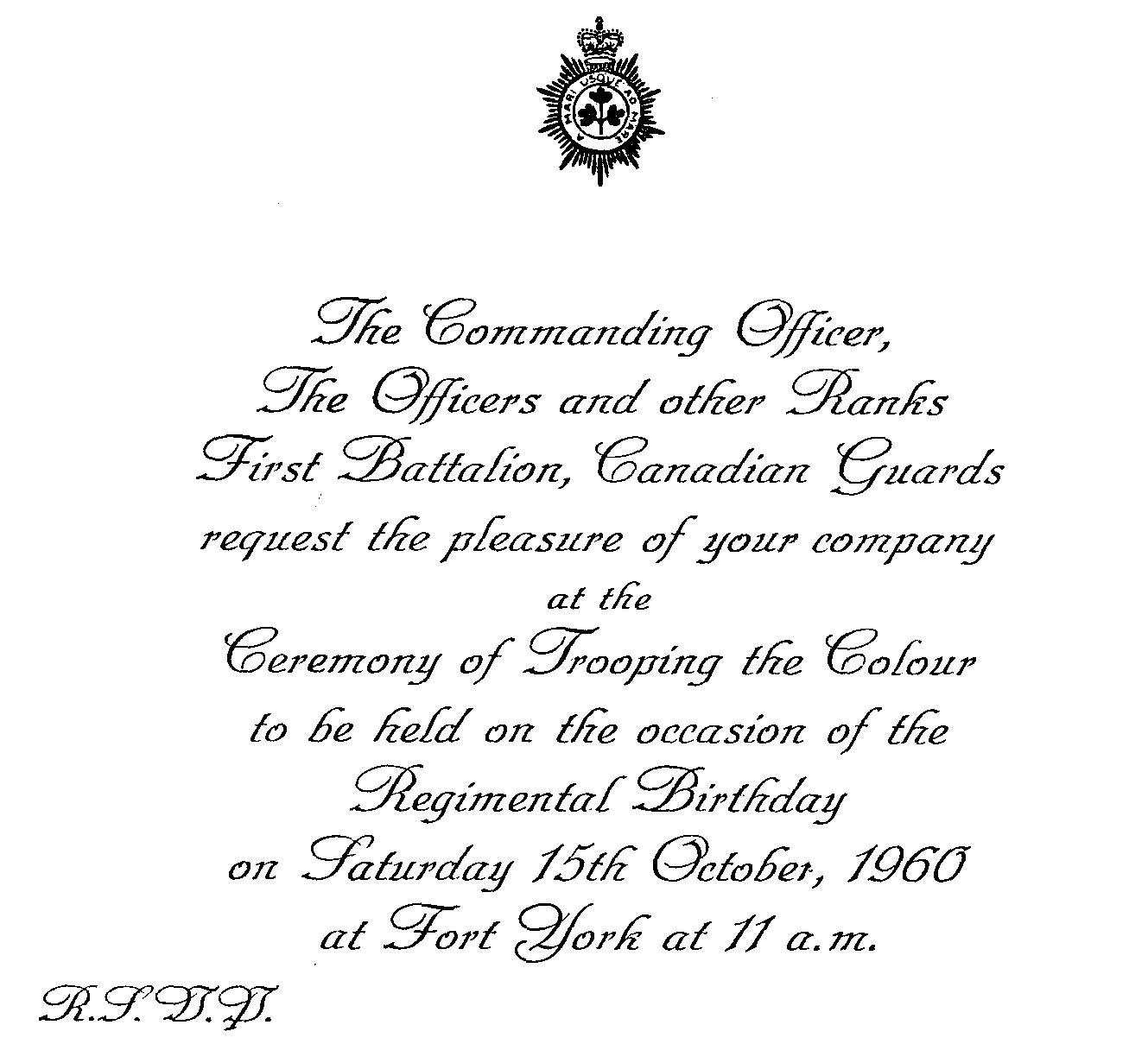 43_Cdn Gds-Trooping Colour on 15 Oct 1960-Invitation