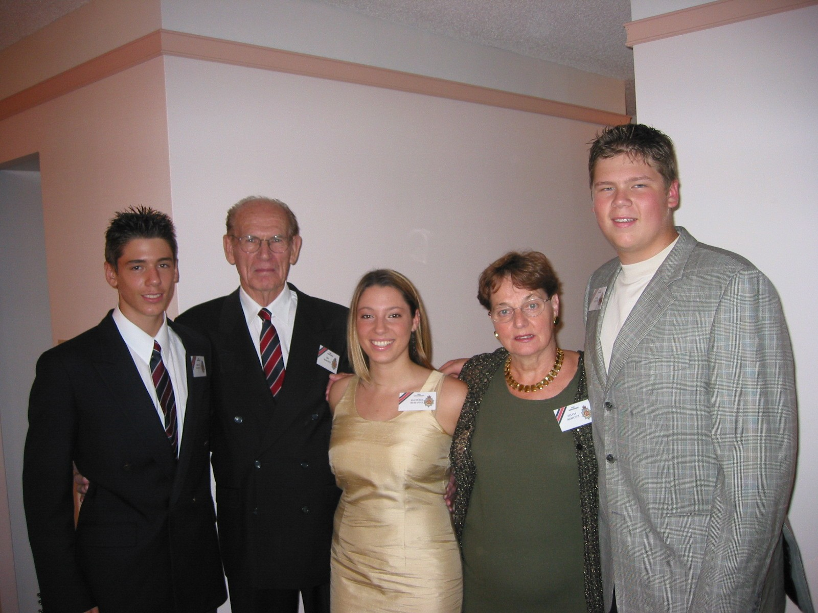 54_Cdn Guards 50 Anniversary-Aug 2003-RSM JJT McManus & Mrs. SylviaMcManus with grandchjildren Jordan (L), Rachael (C)& Justin (R)