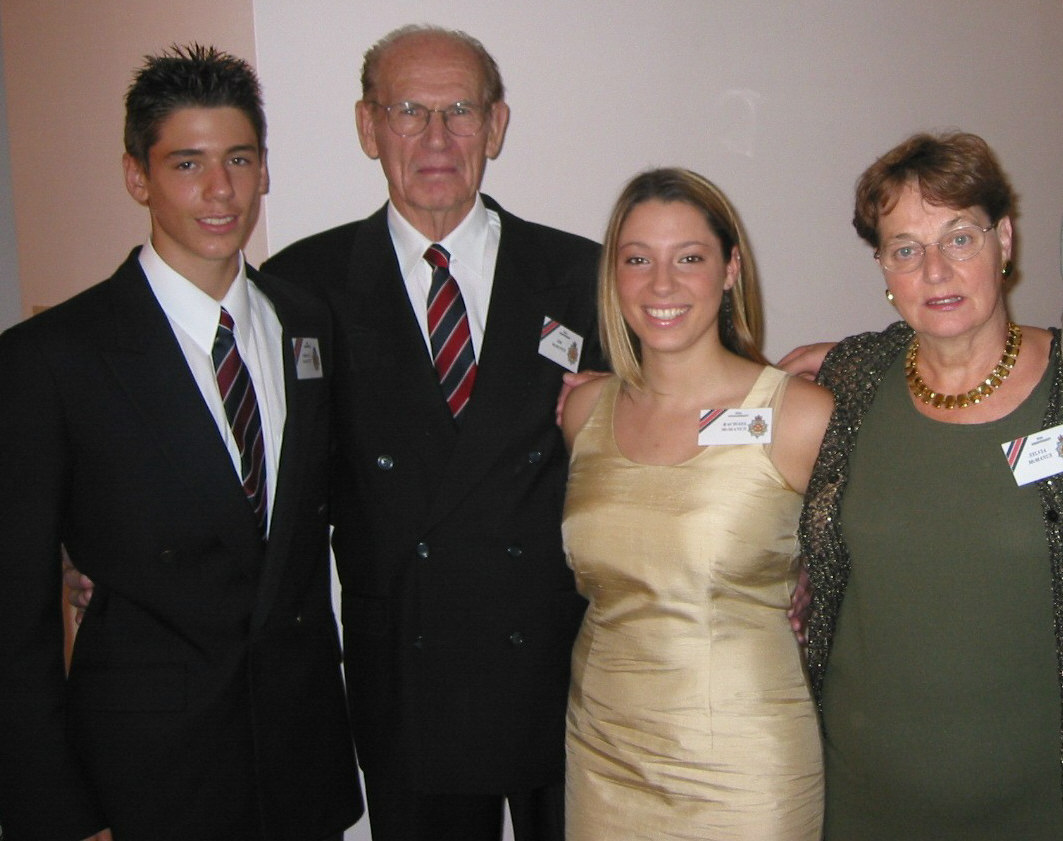 56_Cdn Guards 50 Anniversary-RSM JJT McManus & Mrs. Sylvia McManus with grandchildren Rachael & Jordan