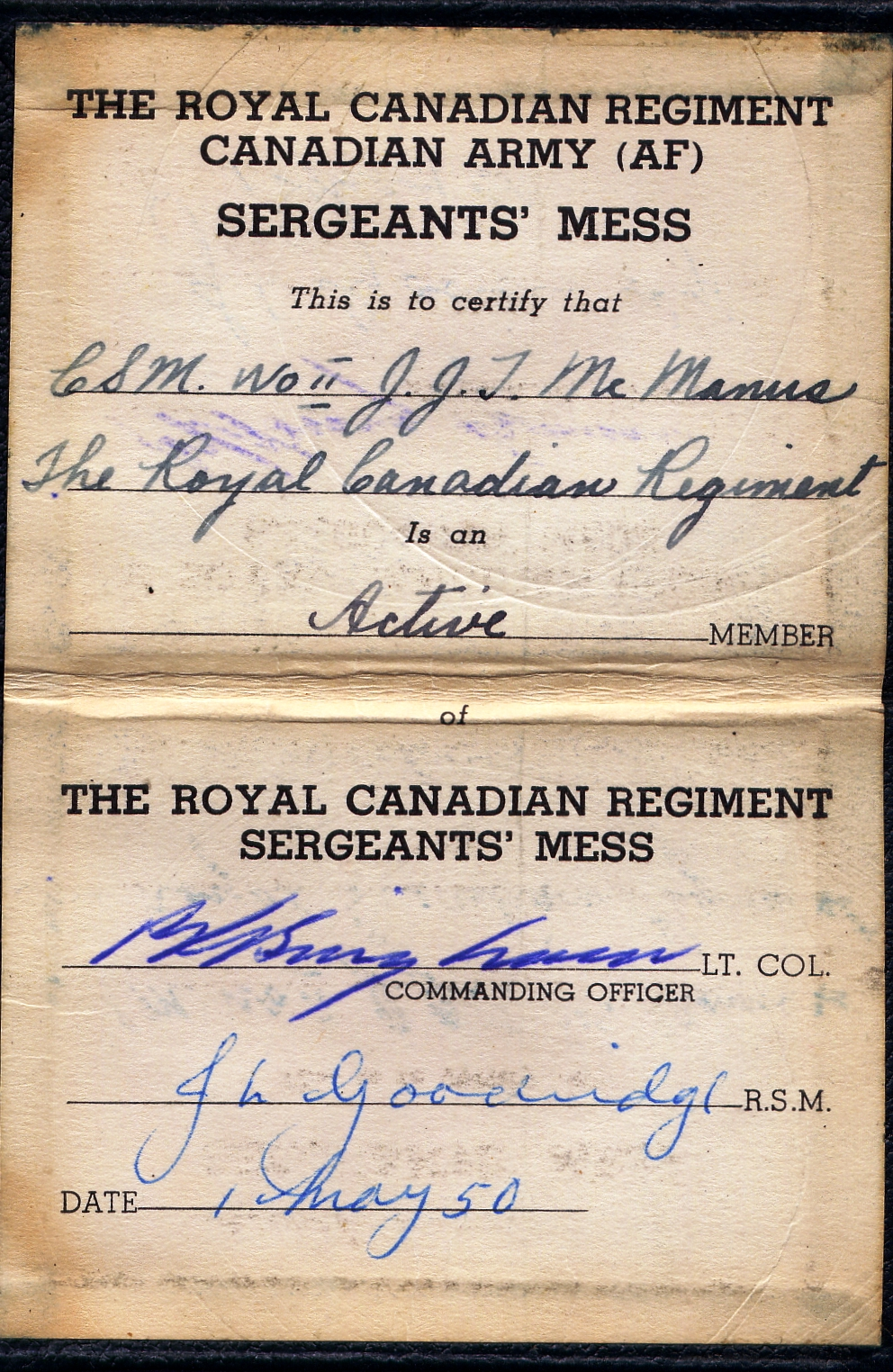 0_RCR Sgt Mess Membership Card 1950