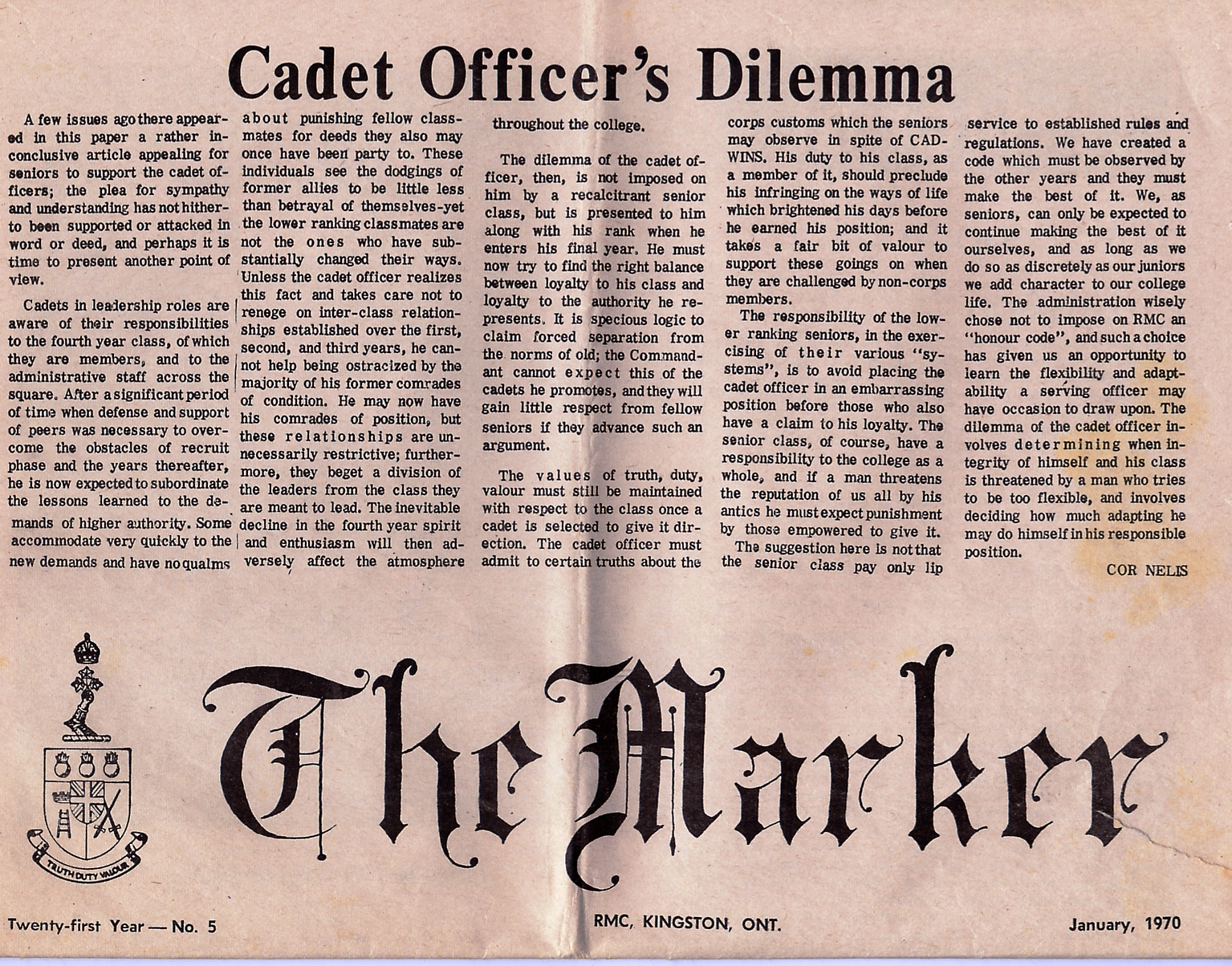 2_RMC-The Marker-January 1970-Front Page Top Half