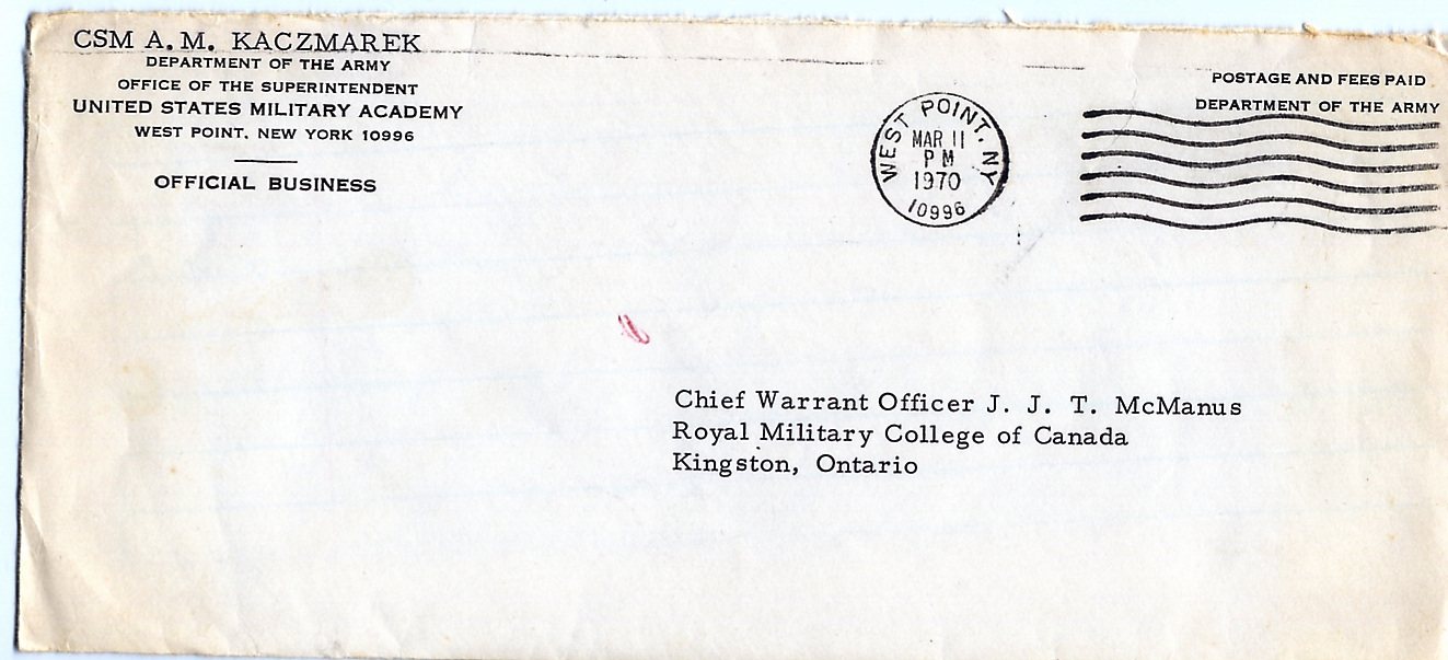 40_CSM Kaczmarek USMA Westpoint to RSM McManus-11 March 1970-Envelope